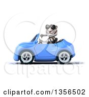 Clipart Of A 3d White Tiger Wearing Sunglasses Giving A Thumb Down And Driving A Blue Convertible Car On A White Background Royalty Free Illustration