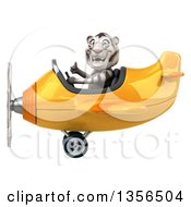Clipart Of A 3d White Tiger Aviator Pilot Giving A Thumb Up And Flying A Yellow Airplane On A White Background Royalty Free Illustration