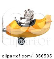 Clipart Of A 3d White Tiger Aviator Pilot Giving A Thumb Down And Flying A Yellow Airplane On A White Background Royalty Free Illustration