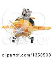 Clipart Of A 3d White Tiger Aviator Pilot Flying A Yellow Airplane On A White Background Royalty Free Illustration