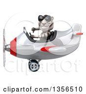 Clipart Of A 3d White Tiger Aviator Pilot Wearing Sunglasses Giving A Thumb Down And Flying A White And Red Airplane On A White Background Royalty Free Illustration