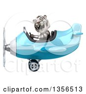 Clipart Of A 3d White Tiger Aviator Pilot Flying A Blue Airplane On A White Background Royalty Free Illustration