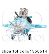 Clipart Of A 3d White Tiger Aviator Pilot Giving A Thumb Up And Flying A Blue Airplane On A White Background Royalty Free Illustration
