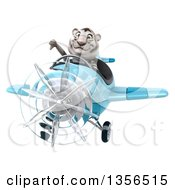 Clipart Of A 3d White Tiger Aviator Pilot Giving A Thumb Down And Flying A Blue Airplane On A White Background Royalty Free Illustration