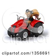 Clipart Of A 3d Business Squirrel Wearing Sunglasses And Operating An Orange Tractor On A White Background Royalty Free Illustration
