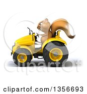 Clipart Of A 3d Squirrel Operating A Yellow Tractor On A White Background Royalty Free Illustration