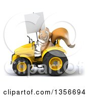 Clipart Of A 3d Squirrel Holding A Blank Sign And Operating A Yellow Tractor On A White Background Royalty Free Illustration