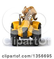 Clipart Of A 3d Squirrel Giving A Thumb Up And Operating A Yellow Tractor On A White Background Royalty Free Illustration