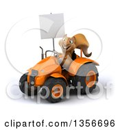 Clipart Of A 3d Squirrel Holding A Blank Sign And Operating An Orange Tractor On A White Background Royalty Free Illustration