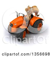 Clipart Of A 3d Squirrel Operating An Orange Tractor On A White Background Royalty Free Illustration