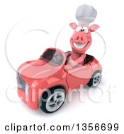 Clipart Of A 3d Chef Pig Driving A Pink Convertible Car On A White Background Royalty Free Illustration