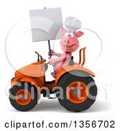 Clipart Of A 3d Chef Pig Holding A Blank Sign And Operating An Orange Tractor On A White Background Royalty Free Illustration