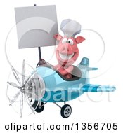 Clipart Of A 3d Chef Pig Holding A Blank Sign And Flying A Blue Airplane On A White Background Royalty Free Illustration