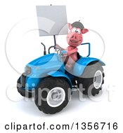 Clipart Of A 3d French Pig Holding A Blank Sign And Operating A Blue Tractor On A White Background Royalty Free Illustration