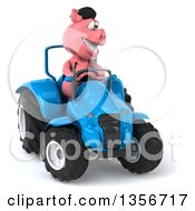 Clipart Of A 3d French Pig Operating A Blue Tractor On A White Background Royalty Free Illustration