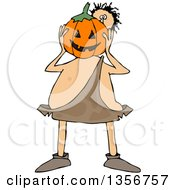 Clipart Of A Cartoon Caveman Holding A Halloween Jackolantern Pumpkin In Front Of His Face Royalty Free Vector Illustration