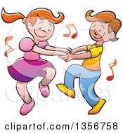 Clipart Of A Cartoon Caucasian Boy And Girl Dancing Together With Music Notes Royalty Free Vector Illustration by Zooco