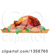 Clipart Of A Roasted And Stuffed Thanksgiving Turkey Royalty Free Vector Illustration