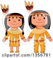 Clipart Of A Thanksgiving Native American Girl And Boy Royalty Free Vector Illustration by Pushkin