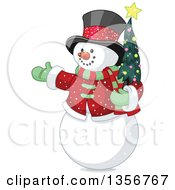 Clipart Of A Presenting Snowman Holding A Small Christmas Tree Royalty Free Vector Illustration