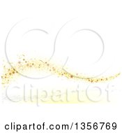 Clipart Of A Wave Of Gold Stars And Confetti Over A White Background Royalty Free Vector Illustration by dero
