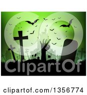 Clipart Of A Silhouetted Zombie Hand Rising From The Grave Against A Haunted Castle And Bats On Green Royalty Free Vector Illustration by KJ Pargeter