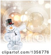 Clipart Of A 3d Chubby Snowman Presenting Over A Bokeh Background With Snowflakes Royalty Free Illustration by KJ Pargeter