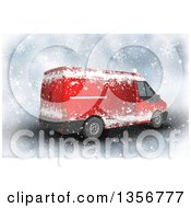 3d Red Christmas Delivery Van In The Snow