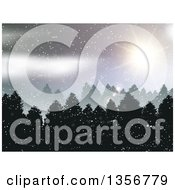 Clipart Of A Forest Winter Landscape With Sunshine And Snow Royalty Free Vector Illustration by KJ Pargeter