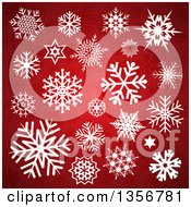 Clipart Of Ornate White Snowflakes Over Gradient Red Royalty Free Vector Illustration