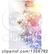 Clipart Of A Christmas Tree Wtih Bokeh Flares Royalty Free Illustration