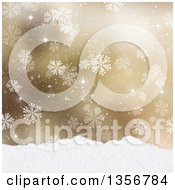 Clipart Of A Gold Snowflake Winter Christmas Background With Shining Stars Royalty Free Illustration