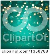 Clipart Of A Background Of Bokeh Flares And Snowflakes On Turquoise Royalty Free Illustration