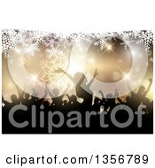 Clipart Of A Silhouetted Group Of People Dancing At A Christmas Party Over Snowflakes And Bokeh Royalty Free Vector Illustration