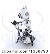 Clipart Of A 3d Futuristic Robot Exercising On A Stationary Bike On A Shaded White Background Royalty Free Illustration
