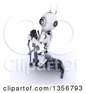 Clipart Of A 3d Futuristic Robot Exercising On A Cross Trainer On A Shaded White Background Royalty Free Illustration