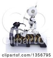 Clipart Of A 3d Futuristic Robot Exercising On A Treadmill On A Shaded White Background Royalty Free Illustration by KJ Pargeter