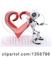 Clipart Of A 3d Futuristic Robot Presenting And Leaning On A Red Heart On A Shaded White Background Royalty Free Illustration