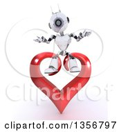 Clipart Of A 3d Futuristic Robot Sitting On A Red Heart On A Shaded White Background Royalty Free Illustration