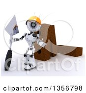 3d Futuristic Robot Mason Construction Worker Holding A Trowel And Presenting By Giant Bricks On A Shaded White Background
