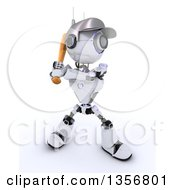 Clipart Of A 3d Futuristic Robot Baseball Player Batting On A Shaded White Background Royalty Free Illustration