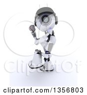 Clipart Of A 3d Futuristic Robot Throwing A Baseball On A Shaded White Background Royalty Free Illustration