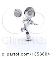 Poster, Art Print Of 3d Futuristic Robot Throwing A Baseball On A Shaded White Background