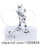 Clipart Of A 3d Futuristic Robot Golfing On A Shaded White Background Royalty Free Illustration by KJ Pargeter