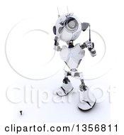 Clipart Of A 3d Futuristic Robot Golfing On A Shaded White Background Royalty Free Illustration