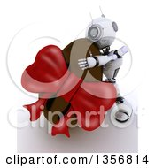 Clipart Of A 3d Futuristic Robot Hugging A Giant Chocolate Easter Egg On A Shaded White Background Royalty Free Illustration