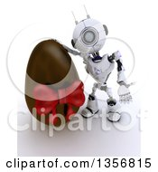 Clipart Of A 3d Futuristic Robot Presenting A Giant Chocolate Easter Egg On A Shaded White Background Royalty Free Illustration