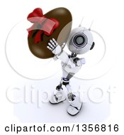 Clipart Of A 3d Futuristic Robot Holding Up A Giant Chocolate Easter Egg On A Shaded White Background Royalty Free Illustration