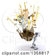 Clipart Of A 3d Futuristic Robot Holding Up An Exploding Chocolate Easter Egg On A Shaded White Background Royalty Free Illustration