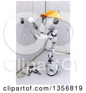 Clipart Of A 3d Futuristic Robot Installing An Electrical Socket On A Shaded White Background Royalty Free Illustration